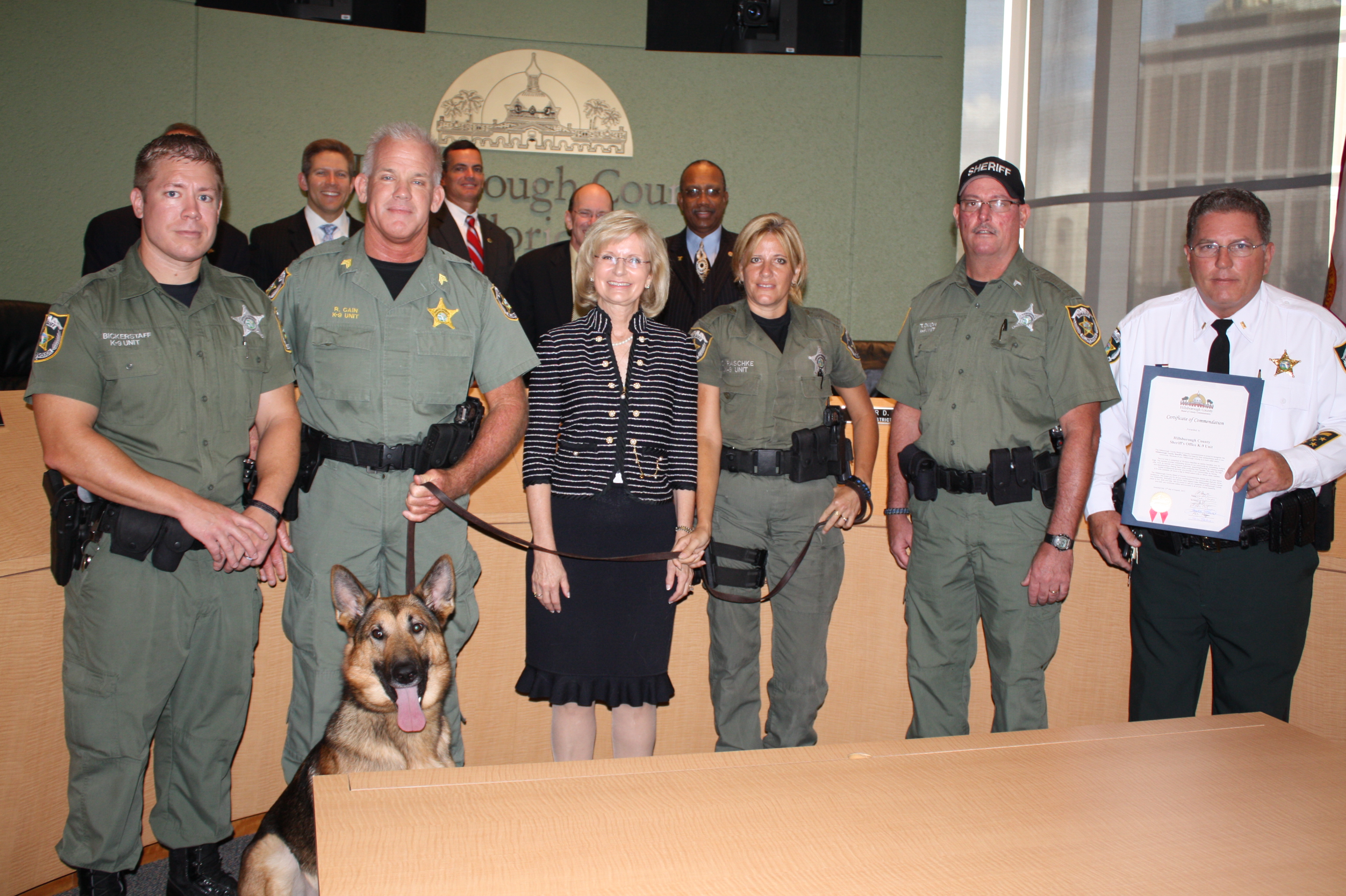 Perfect Commissioner Murman Presents A BOCC Commendation To The Hillsborough County  Sheriffu0027s Office K 9 Unit