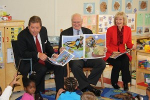 Sandy, David McGerald and Dave Lawrence read to children at the HCC Early Childhood Center