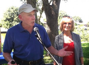 County Commissioner Sandy Murman spends some time at the Baycrest Picnic where Countryway/Baybrook resident Jim Pidcock addresses the community gathering.