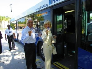 Sandy rides the HARTline with Tampa Airport CEO Joe Lopano