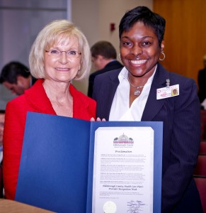 Commissioner Sandy Murman presents a Proclamation to Dacia Oblesby of Crisis Center of Tampa Bay, one of 27 Hillsborough Health Care Plan providers honored for returning more than $200 million to the community in the past 3 years.