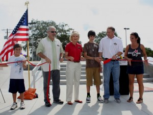 Commissioner Murman is on hand to dedicate the Diego Duran Skateboard Plaza in Apollo Beach with Diego's family, the SouthShore Chamber and County Recreation officials