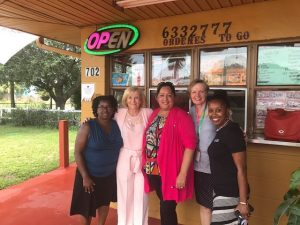 Sandy and Chief Development & Infrastructure Administrator Lucia Garsys tour Wimauma with Liz Gutierrez and Jackie Brown, with a stop at Taqueria El Sol.