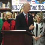 Commissioner Murman helps welcome Governor Rick Scott to Plant High School in South Tampa. The Governor was presenting a check for $8 million to Hillsborough County Schools.