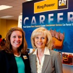 Sandy welcomes Christina Golden of Ring Power, one of more than 40 employers at Commissioner Murman's South County Job Fair at HCC South Shore Campus. Hundreds of job-seekers attended the event co-sponsored by the Tampa Bay Workforce Alliance and HCC.