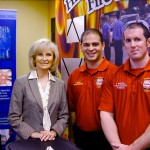 Sandy take a moment to speak with members of Hillsborough County Fire Rescue, one of more than 40 employers which participated in Commissioner Murman's South County Job Fair at HCC South Shore Campus. The event was in partnership with the Tampa Bay Workforce Alliance, HCC and Hillsborough County.