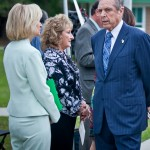 Commissioner Murman speaks with Governor Bob Martinez and Mary Jane Martinez at the County Children's Services Girls Shelter named for Mary Jane Martinez.
