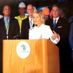 Commissioner Sandy Murman speaks about the economic importance of Port Tampa Bay to Hillsborough County, along with Governor Rick Scott and Port Director Paul Anderson.