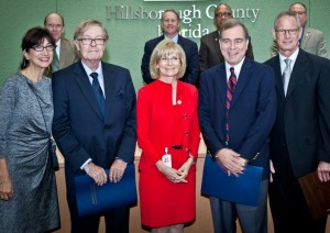 Sandy presented commendations to Pulitzer Prize winners Dan Ruth and Tim Nickens for their work with the Tampa Bay Times newspaper. From left are Angela Ruth, Dan, Sandy, Tim and Times publisher Paul Tash.