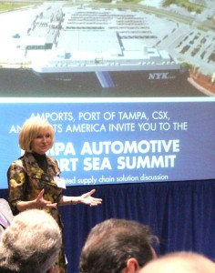 Sandy Murman, also a Tampa Port Authority Commissioner, welcomes leaders from Amports, CSX, and Ports America to the Tampa Automotive Short Sea Summit.