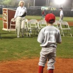 Commissioner Sandy Murman throws out the Ceremonial First Pitch during the Opening Day festivities for East Bay Little League.