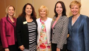 County leaders speak to leadership of the South Tampa Chamber of Commerce. From left are: Bonnie Wise, Chief Financial Administrator; Starr Saccareccia-Tyrka of the Chamber; Commissioner Sandy Murman; Kelly Flannery of the Chamber; and Lucia Garsys, Chief Development & Infrastructure Services Administrator.