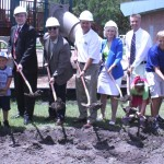 Sandy helps break ground for Westchase Park gymnasium with Westchase children, parents, volunteers and park staff
