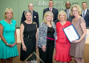 Sandy recognized the Committee on the Status of Women for its choices for the Hillsborough County Women's Hall of Fame. From left are Connie Gage, Linda D'Aquila, Dotti Groover-Skipper, and Yvonne Fry.