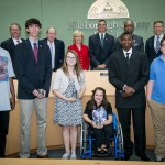 Sandy and the Commissioners honored Leigh Dittman, Julia Woolley, Sam Estes, Demonde Ragins, Ervin Harris, and Derek Frantz with YEA! Youth Excellence and Achievement Awards at a BOCC meeting.