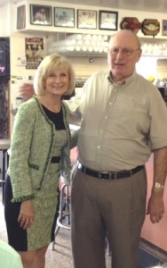 Sandy takes time to have lunch with former County Commissioner Joe Chillura at the West Tampa Sandwich Shop.