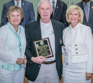 Sandy honors James Harkins as Member Emeritus of the Hillsborough County Library Board during a BOCC special awards ceremony.
