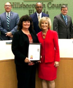 Commissioner Sandy Murman recognized the Floirida Department of Transportation on its 100th Anniversary. FDOT's Debbie Hunt was on hand to receive the honors.