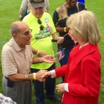 Sandy visited with residents during Seniors Day at Hillsborough County's MacFarland Park.
