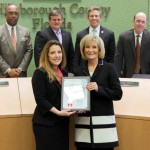 Commissioner Sandy Murman honored Danielle Charette at the BOCC's quarterly awards ceremony for helping open the doors to prosperity and ensure financial security for countless people in the Hispanic community, especially women.