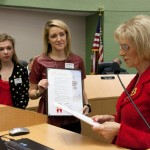Commissioner Sandy Murman proclaimed February as American Heart Month in Hillsborough County. On hand to accept the proclamation was Kate Sawa, Executive Director of AHA Tampa Bay and Aubrey Oyler, Event Specialist for AHA's Go Red for Women.