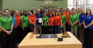 Sandy Murman presented a commendation to the Hillsborough County Environmental Protection Commission for upholding the highest standards in environmental stewardship and customer service, an achievement that earned the prestigious Governor's Sterling Award. The EPC team, led formerly by Dr. Rick Garrity, and now by Janet Dougherty, was on hand to accept the honor.