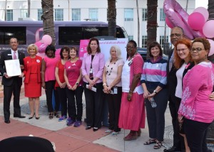 Commissioner Sandy Murman stands with breast cancer survivors during a special Think Pink event she hosted for Breast Cancer Awareness Day in Hillsborough County at Chillura Park.