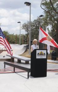Sandy helps dedicate the Brandon Skate Park