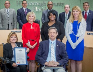 "Sandy proclaims ""Disability Awareness Day"". From left are: Sandra Sroka, County ADA Liaison, Ben Ritter, Co-Chair, Mayor's Alliance for Persons with Disabilities; Glorie Singleton, Agency for Persons with Disabilities, and Carrie Shelton, Division of Vocational Rehabilitation."
