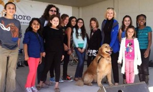 Sandy and Rocky take some time to visit with the Doby Elementary School Rock Band at the 2014 Apollo Beach Manatee Festival of the Arts.