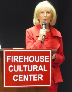 "Sandy helps dedicate the Ruskin Firehouse Cultural Center. ""This building embodies the history and culture of Ruskin and South Hillsborough County,"" she said at the event."