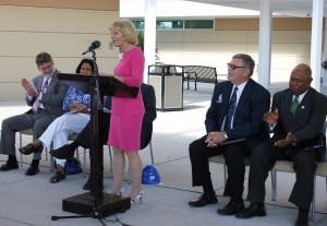 Commissioner Sandy Murman speaks on the positive impact the new Science & Technology building at HCC SouthShore will have in South Hillsborough County.