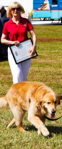 Commissioner Sandy Murman delivers the 2014 Islands Fest proclamation as Rocky leads the way.