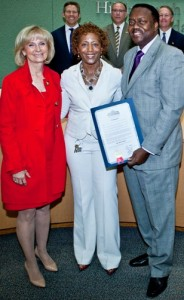Commissioner Sandy Murman proclaims May as Older Americans Month in Hillsborough County. On hand to accept the proclamation were Ven Thomas, Director of Family & Aging Services and Bart Banks, Division Director of Aging Services.