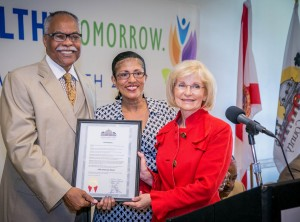 Commissioner Sandy Murman presents a special proclamation for Older Americans Month at the Oaks at Riverview.