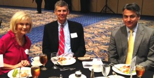 Commissioner Sandy Murman attends a Port Tampa Bay luncheon with the Port's John Thorington and Charles Klug.