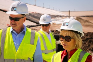 As a member of the Board for Tampa Bay Water, Inc.., Commissioner Sandy Murman tours the C.W. Bill Young Regional Reservoir with Construction Coordinator Rick Menzies and Chief Operating Officer Chuck Carden.
