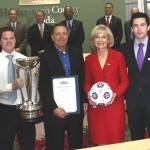 Sandy honors the Tampa Bay Rowdies for its second NASL Soccer Bowl Championship; On hand were owners David Laxer, Andrew Nestor and players Keith Savage, Mike Ambersley, Stuart Campbell and the 2012 Soccer Bowl Trophy