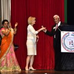 Sandy spoke to a crowd of 1,000 at the India Independence Day event with Satish K. Sharma, president of the FIA.