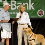 """Sandy and """"Rocky"""" proclaim Islands Fest 2013 a success as she presents Pete Moller, organizer of the event, with an official thank you from the County."""