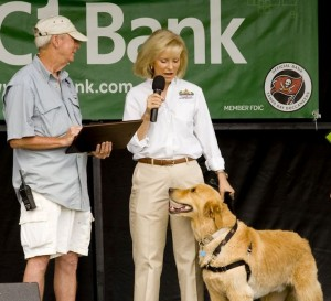 "Sandy and ""Rocky"" proclaim Islands Fest 2013 a success as she presents Pete Moller, organizer of the event, with an official thank you from the County."