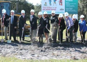 Commissioner Sandy Murman along with Commissioners Al Higginbotham and Ken Hagan, help the Family Y at Big Bend Road break ground. From left are President & CEO Tom Looby, Commissioner Higginbotham, Brett Couch, Commissioner Hagan, Commissioner Murman, Jennifer Murphy, John Tipton, Tony DiMare, Sharon Morris, George Simmons and Sandy Simmons.