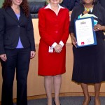 Sandy honored the Town 'n Country Senior Center for being recognized as the top senior center in the State of Florida. Tracy Gogichaishvili, acting director of Aging Services for Hillsborough County, and Mary Jo McKay, manager of Senior Adult Daycare & Senior Centers, accepted the commendation.