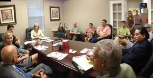 Sandy takes time to meet with Todd Marks, business and community leaders of the Westchase neighborhood.