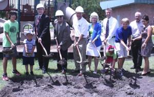 Sandy helps break ground for Westchase Park gymnasium with Westchase children, parents, volunteers and park staff