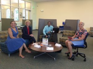 Sandy visits the Work in the Flow program at the Upper Tampa Bay Regional Library.