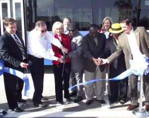 Commissioner Sandy Murman helped cut the ribbon during the HART Yukon Bus Transfer Dedication ceremony; On hand were officials from HART, Tampa City Council, County School Board, and the County