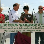Sandy helps dedicate the Diego Duran Skateboard Plaza at Apollo Beach with Diego's family and other county staff