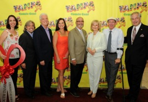 Sandy helps the South Tampa Chamber of Commerce cut the ribbon for the Tampa Bay Comic Con at the Tampa Convention Center. From left are Kelly Flannery, Santiago Corrada, Councilman Mike Suarez, Rep. Dana Young, Councilman Charlie Miranda, Commissioner Al Higginbotham, and Andrew Moos.