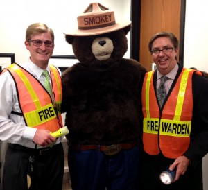 Smokey Bear meets with 2nd Floor Fire Wardens during his recent visit to County Center. Smokey was honored by the BOCC for his 70th Birthday.